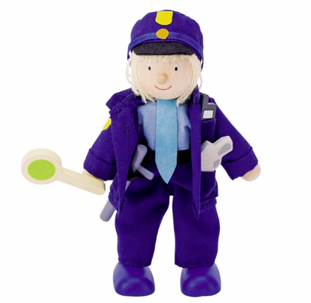 Goki Flexible Wooden Doll - Traffic Police Officer